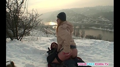 Blonde wife heats stranger'_s cock forth the snow
