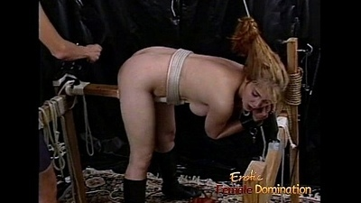 Raunchy blonde slut down big tits gets whipped hard by a headmistress