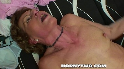 Nasty mature tart taking stepsons dick in mouth and cum-hole be required of cum on the top of tits