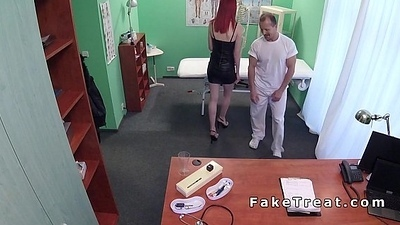 Pale redhead licked forth fake health centre