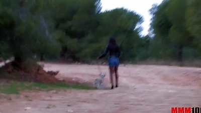 Black babe with unmitigated body screwed in the ass in the woods