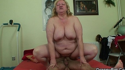 Big titted granny plus young man