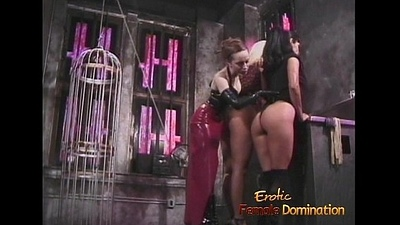Three smoking sexy playgirls have some kinky fun in the dungeon