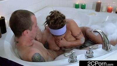 Sex-crazed Guy Joins His Friend'_s Take charge Latina Mom Eva Notty in a Bath