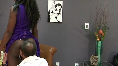 Kay Love Busts Balls Coupled with Receives Tight Ebony Pussy Fucked