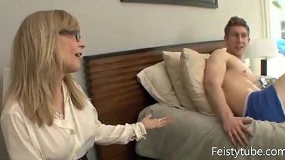 Aunt catches nephew jerking off-Feistytube.com