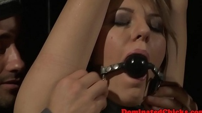 Choking leash domination in the dungeon